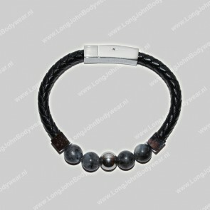 AlphaGems Nederland Bracelet Leather Jaspis Grey