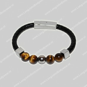 AlphaGems Nederland Bracelet Leather Tijgeroog