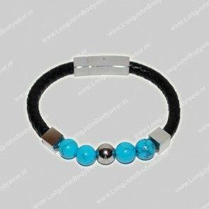 AlphaGems Nederland Bracelet Leather Jasper Turquoise
