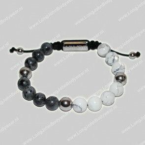 AlphaGems Nederland Bracelet Rope Jaspis Grey/White